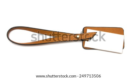 Leather label (tag) isolated on white background  - stock photo