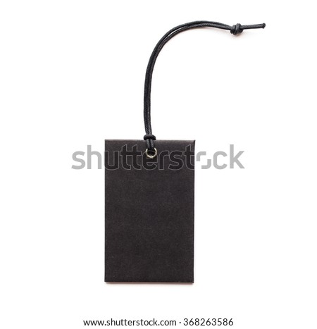 leather label tag with string, isolated on the white background. - stock photo