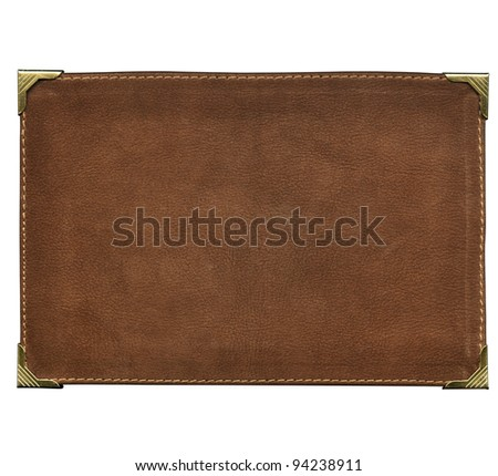 Leather label, with brass corners - stock photo