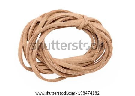 leather lace isolated on white background - stock photo