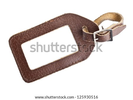 leather luggage tag isolated on white background