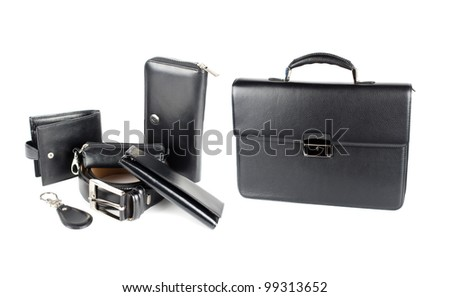 Leather male bag with accessories - stock photo