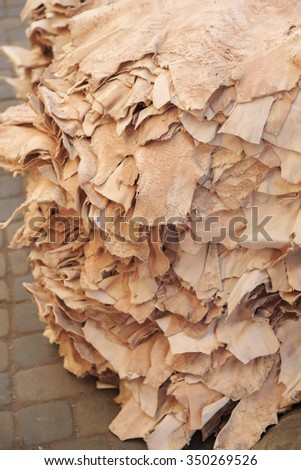 Leather market in Marrakech, Morocco - stock photo
