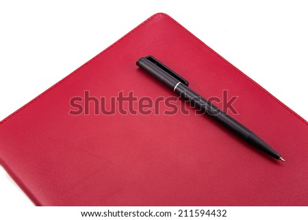 Leather notebook and pen isolated on the white - stock photo
