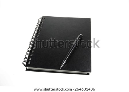 Leather notebook and pen isolated on the white background - stock photo