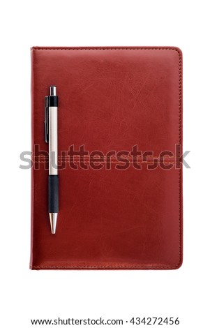 Leather notebook and pen isolated on white background with clipping path. - stock photo