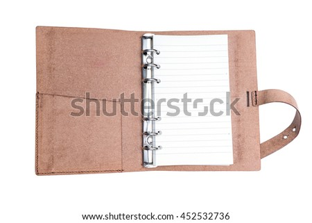 leather notebook  isolate on white background - with clipping path - stock photo