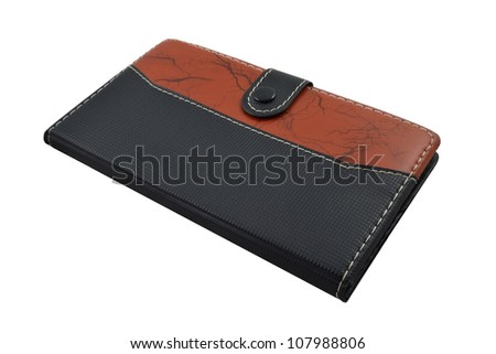 leather notebook on white background - stock photo