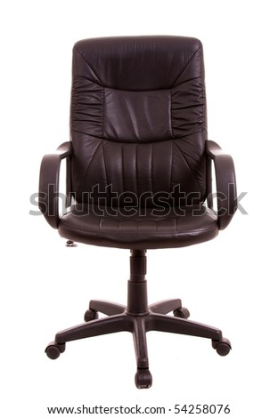 Leather office chair against white background - stock photo