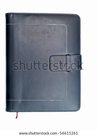 Leather organizer on white background - stock photo