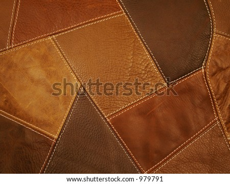 Leather Patchwork Fabric Background - stock photo