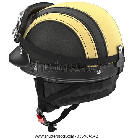 Leather Motorcycle Helmet Goggles Retro Style Stock Illustration