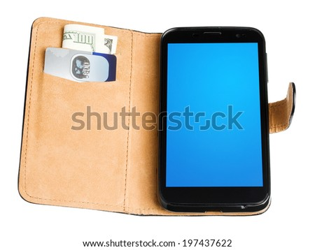 Leather purse with money, credit card and mobile phone isolated on white background - stock photo