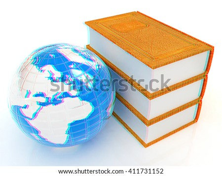 leather real books and Earth. 3D illustration. Anaglyph. View with red/cyan glasses to see in 3D. - stock photo