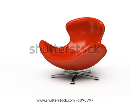 Leather red armchair isolated on white background - stock photo