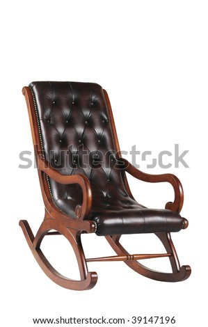 Leather rocking chair isolated on white