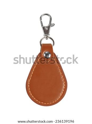 Leather Round Keychain with clip lock for Key Isolated on White Background - stock photo
