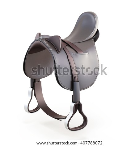 Leather saddle isolated on a white background. 3d rendering - stock photo