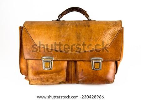 leather satchel  - stock photo