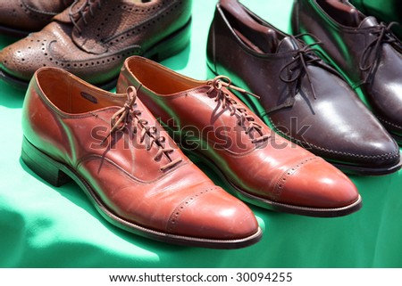 leather shoes in the sun - stock photo