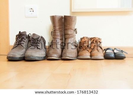 leather shoes  on  floor in home  - stock photo