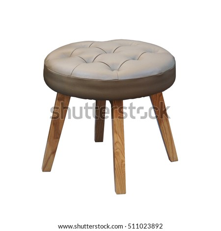 leather short stool isolated on white background including clipping path