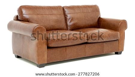 Leather sofa - stock photo
