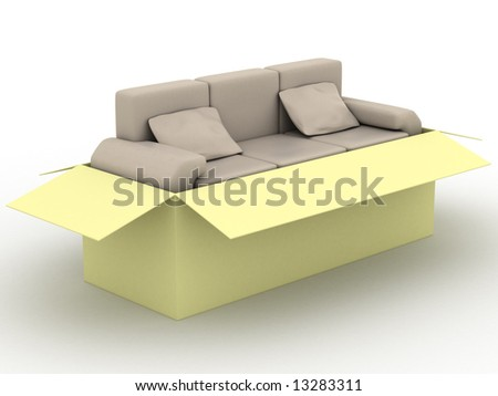 leather sofa in a packing box. 3D image.