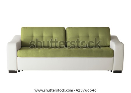 Leather sofa isolated on white include clipping path - stock photo