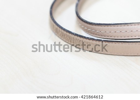 Leather strap on woman bag
