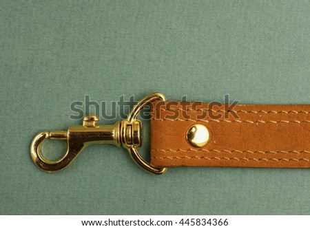leather strap with carabiner on a green background - stock photo