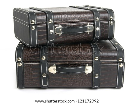 Leather suitcase - stock photo