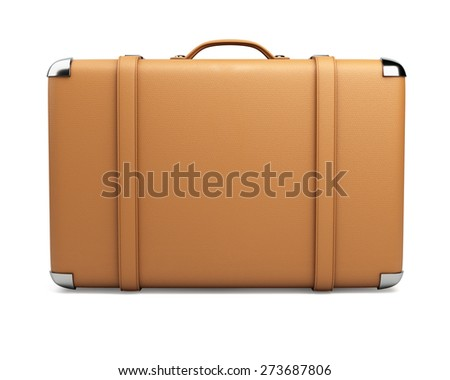 Leather suitcase isolated on white background. - stock photo