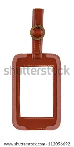 leather tag isolated on white - stock photo