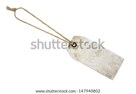 leather tags or label with string on white background  - stock photo