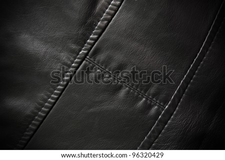 Leather texture colose-up with linear stiches. Part of a leather jacket. - stock photo