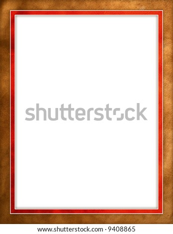 Leather texture red border frame - stock photo