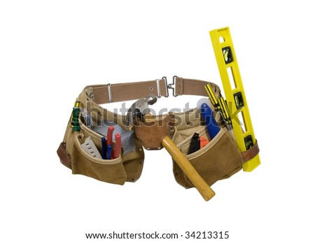 Leather tool belt for carrying items conveniently while working - path included - stock photo