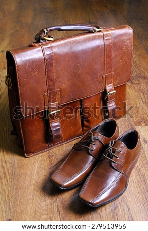 leather vintage classic  style briefcase and leather shoes