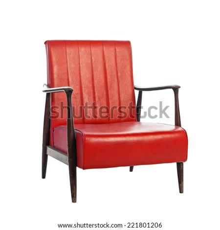 leather vintage sofa isolated on white background - stock photo