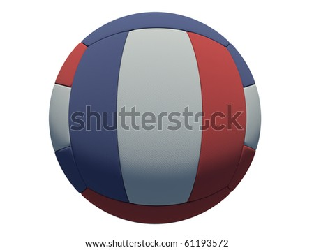 leather volleyball ball on isolated background (french skin) - stock photo