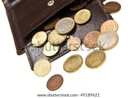 leather wallet and coins