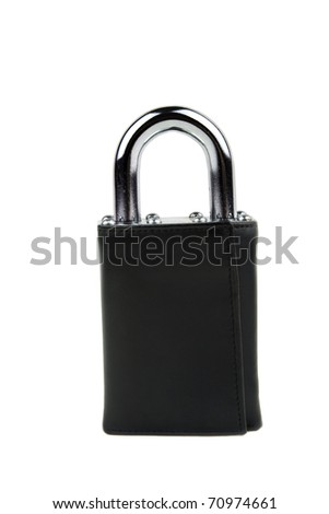 Leather Wallet as Padlock Financial Security Concept Isolated on a White Background