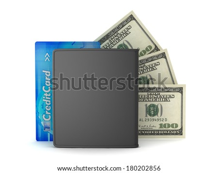 Leather wallet, credit card and dollar bills on white background