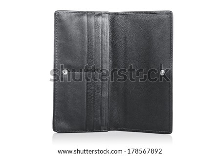 Leather wallet isolated on the white