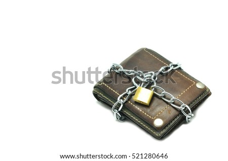 Leather wallet locked for saving, business concept.
