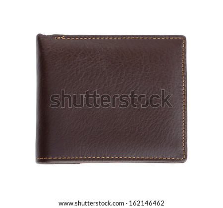 leather wallet on white background (with clipping path) - stock photo