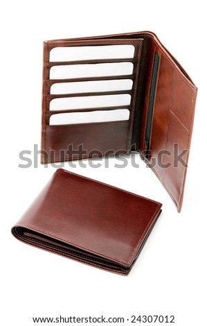 Leather wallet with cards - stock photo
