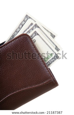 Leather wallet with cash