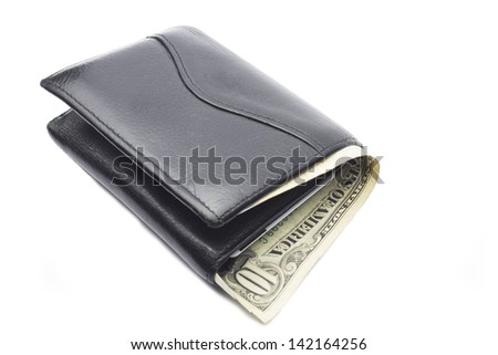 Leather wallet with dollar banknote, isolated on white - stock photo
